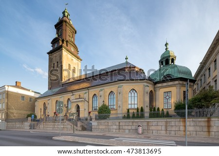 Goteborg, Sweden - Aug 12, 2016: German Church in the city of Gothenburg partly illuminated by the sunrise.