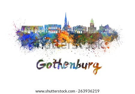 Gothenburg skyline in watercolor splatters with clipping path - stock photo