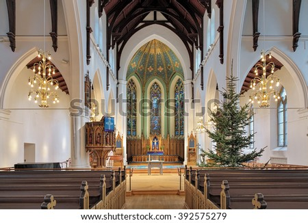 GOTHENBURG, SWEDEN - DECEMBER 15, 2015: Interior of Haga Church (Hagakyrkan). The church was built in 1856-1859 by design of the Swedish architect Adolf W. Edelsvard and opened on November 27, 1859.