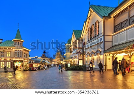 GOTHENBURG, SWEDEN - DECEMBER 17, 2015: Lisebergbanan station building with Christmas decoration in Liseberg amusement park. Liseberg amusement parks is the most famous Christmas Market of Sweden. - stock photo