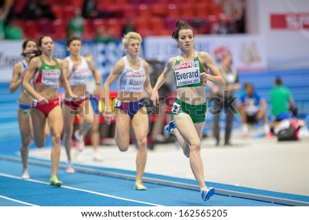 GOTHENBURG, SWEDEN - MARCH 1 Ciara Everard (Ireland) 1st wins heat 2 of the women's 800m event during the European Athletics Indoor Championship on March 1, 2013 in Gothenburg, Sweden.