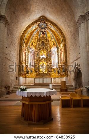 Gothic altarpiece. Monastery of Santa Maria de Valbuena in the province of Valladolid, Spain - stock photo