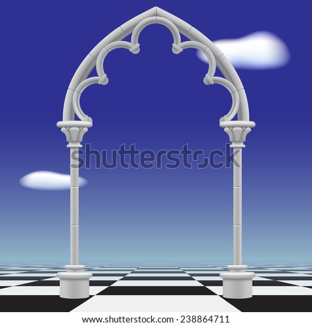 Gothic arch against a blue sky background and checkerboard floor - stock photo