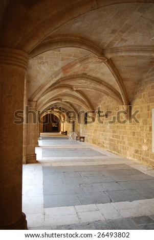 Gothic Arches Colonnade in the Palace of the Grand Master, Rhodes, Greece - stock photo
