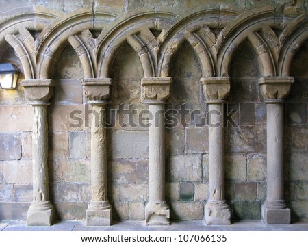 Gothic Arches in limestone - stock photo