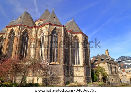 Gothic architecture of St Michael church in th old town of Ghent, Belgium - stock photo