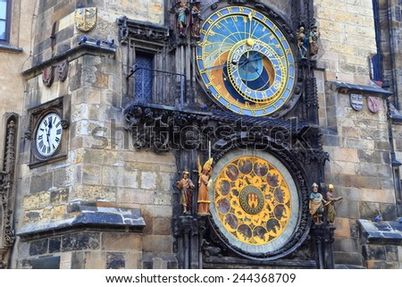 Gothic architecture of the Town Hall and Astronomical Clock in Prague Old Town, Czech Republic - stock photo
