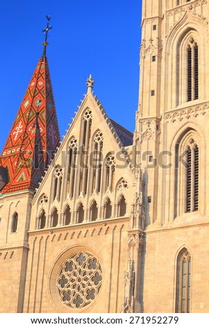 Gothic architecture on the sunny facade of St Matthias church in Budapest, Hungary - stock photo