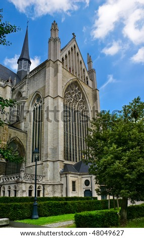 Gothic Architecture - Sint-Rombouts Cathedral in Mechelen, Belgium. - stock photo