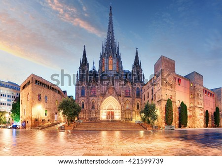 Gothic Barcelona Cathedral at night, Spain - stock photo