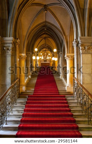 Gothic castle interior - stock photo