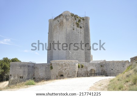 Gothic castle of the fifteenth century, it was a military fortress situated on top of the moor, is located in the town of Iscar, province of Valladolid, Castile and Leon, Spain. - stock photo