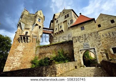 Gothic Castle Pernstejn - Europe, Czech Republic - stock photo