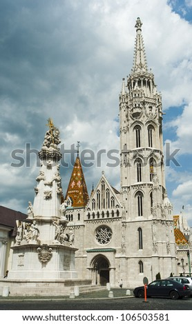 gothic cathedral at Castle of Buda, Budapest, Hungary - stock photo