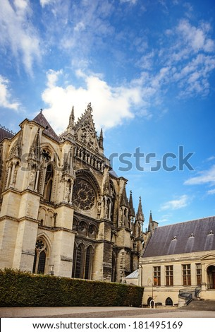 Gothic cathedral at Reims in the Champagne region in France.  - stock photo