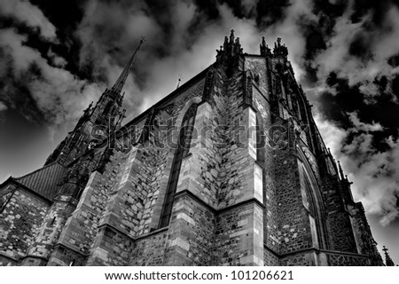 Gothic cathedral in dramatic shot - stock photo