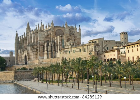 Gothic cathedral in Palma de Mallorca (Balearic Islands - Spain) - stock photo