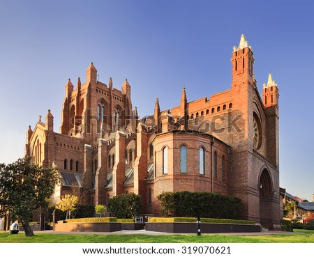 Gothic cathedral of Newcastle in Australia on a sunny bright morning with nobody around - stock photo