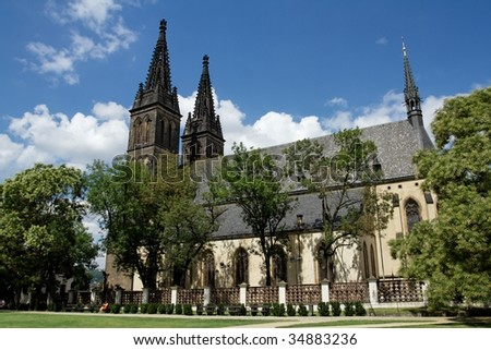 """Gothic Cathedral on the hill """"Vysehrad"""" - stock photo"""