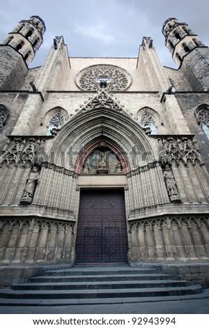 Gothic cathedral Santa Maria del mar in Barcelona, Spain - stock photo