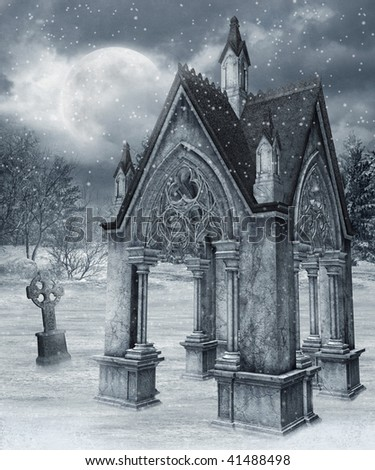 Gothic chapel in a winter forest