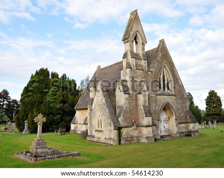 Gothic Church and Cemetery - stock photo