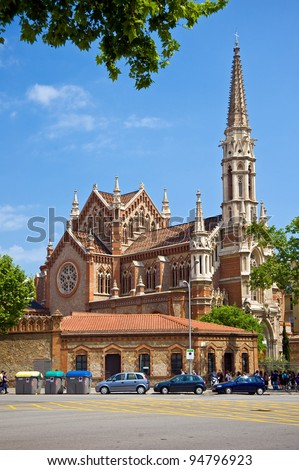 Gothic church in Barcelona - stock photo