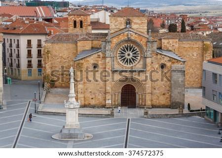 Gothic church in the historic center of Avila, Spain - stock photo