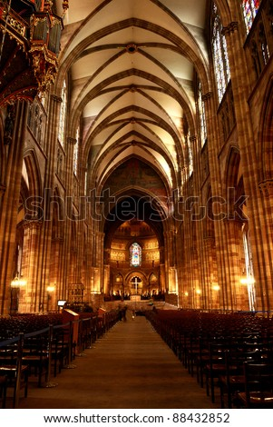 gothic church interior in france - stock photo