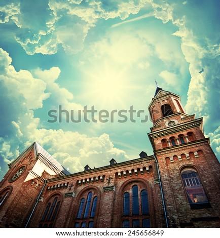 Gothic Church. Retro stale. - stock photo