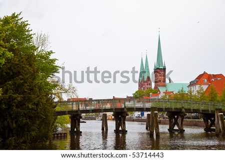 Gothic Church Towers in Lübeck, Germany. - stock photo
