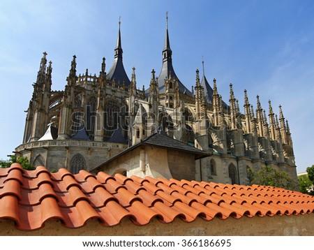 Gothic church towers. Roman Catholic church in Kutna Hora. - stock photo