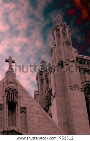 Gothic Church with Scary Sky - stock photo