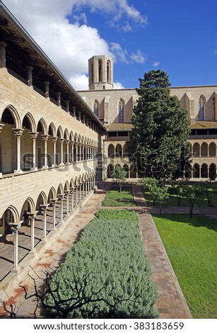 Gothic cloister of Pedralbes Monastery at Barcelona. Catalonia, Spain - stock photo