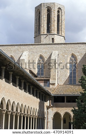 Gothic cloister of Pedralbes Monastery at Barcelona. Catalonia, Spain