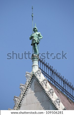 Gothic decoration on the top of the Hungarian Parliament building. Budapest