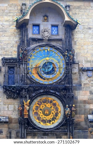 Gothic decorations and Astronomical Clock on the wall of medieval Town Hall, Prague, Czech Republic - stock photo