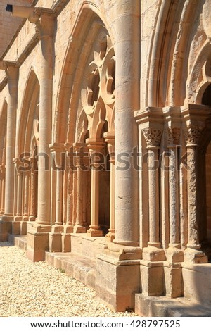 Gothic design of the cloister of the Royal Abbey of Santa Maria de Poblet (Poblet Monastery) in Catalonia, Spain