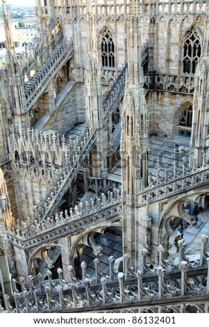 Gothic details of the dome, duomo, of Milan, the famous landmark church, Lombardy, Italy - stock photo