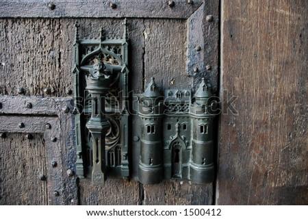 Gothic door handle in Mons, Belgium - stock photo