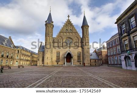 Gothic facade of Ridderzaal in Binnenhof, Hague, Netherlands - stock photo