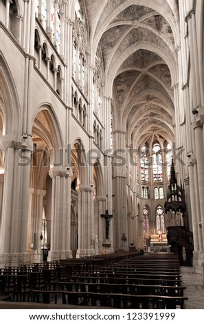 Gothic interior of the Saint Vincent de Paul church in Marseille, France - stock photo
