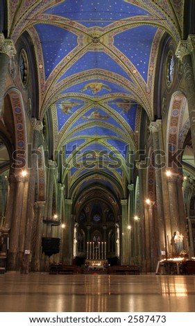 Gothic interiors of Church of Santa Maria Sopra Minerva in Rome - stock photo