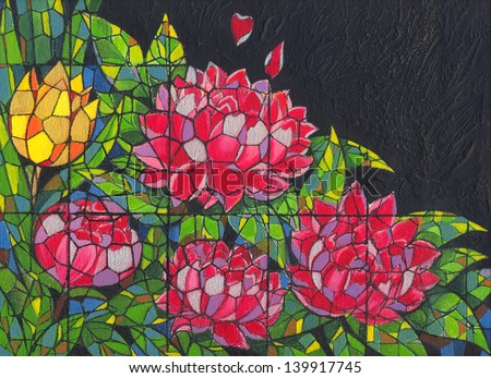 Gothic peony with tulip. Acrylic color painting on canvas. - stock photo