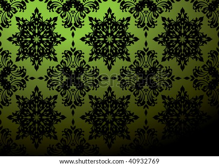 Gothic Repeat Wallpaper Design In Green And Black