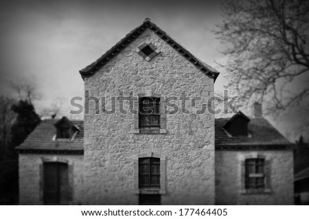 Gothic revival architecture abandoned house exterior abstract blur. Black and white. - stock photo