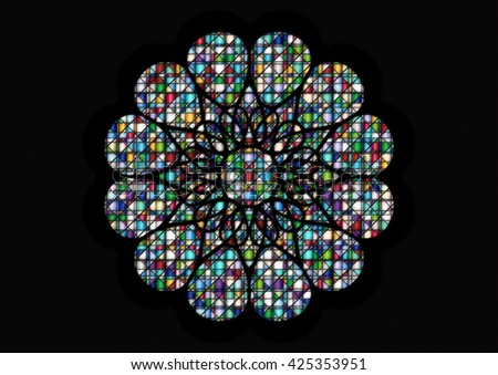 Gothic rosette window pattern, color illustration