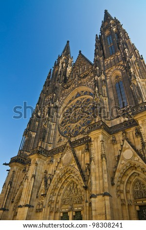 Gothic St. Vitus cathedral in Prague Castle - stock photo