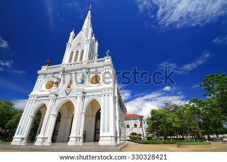 Gothic style church in blue sky background at Samut Songkram Province,Thailand,Asia. - stock photo