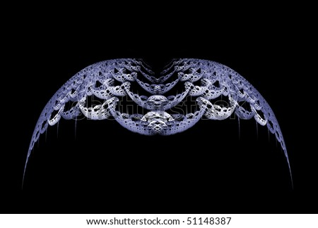 Gothic style grey abstract wings over black background. - stock photo